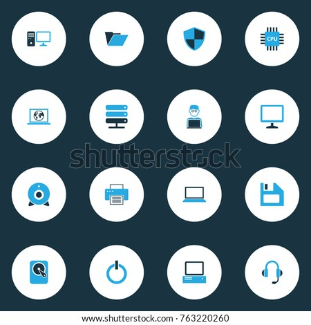Computer colorful icons set with computer, network, floppy disk and other floppy disk elements. Isolated vector illustration computer icons.