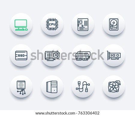 computer components icons, motherboard, CPU, RAM, video card, HDD, SSD, fan, linear style