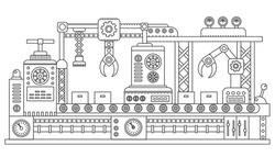 Computer controlled robots packing cardboard boxes of industrial assembly line. Factory construction machinery technology equipment, engineering outline stroke vector illustration.