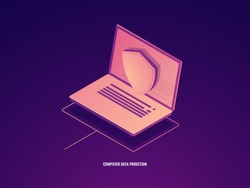 Computer data protection, laptop with shield, data safety isometric vector icon