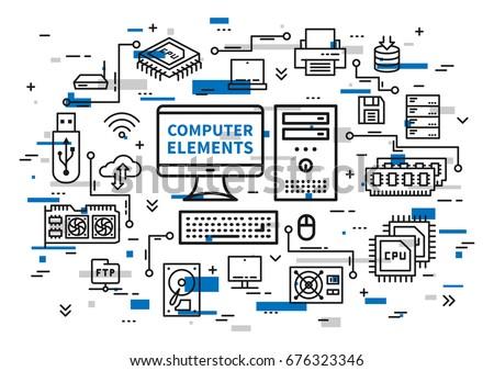Computer desktop elements vector illustration. Desktop components (motherboard, usb card, cpu chip, keyboard, ram memory, hdd, processor, etc) line art. Computer hardware equipment graphic design.