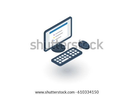 computer, desktop isometric flat icon. 3d vector colorful illustration. Pictogram isolated on white background