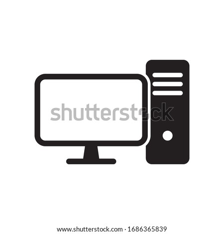 Computer desktop vector icon, pc symbol.