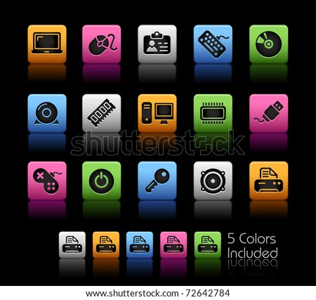 Computer & Devices // Color Box -------It includes 5 color versions for each icon in different layers --------- - stock vector