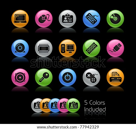 Computer & Devices Icons// Gelcolor Series -------It includes 5 color versions for each icon in different layers --------- - stock vector