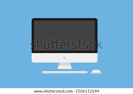 Computer display mouse keyboard. Technology communication background. Monitor vector icon. Flat graphic design. Screen computer monitor. EPS 10