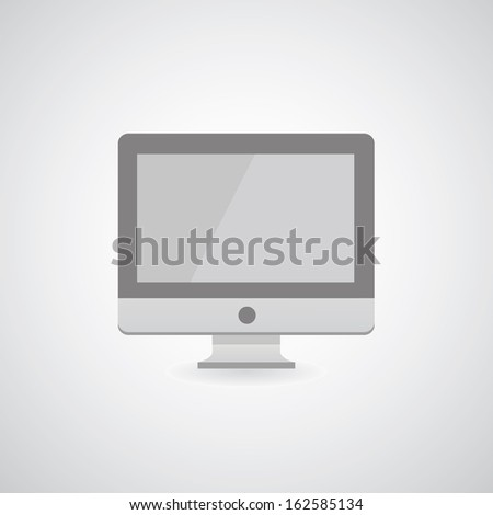 Computer display on gray background