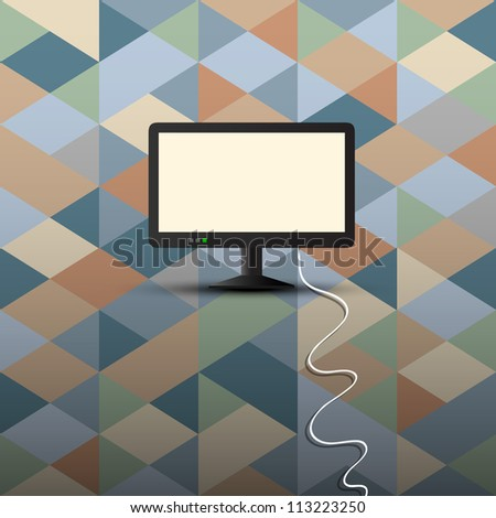 Computer display on retro background. Conceptual vector