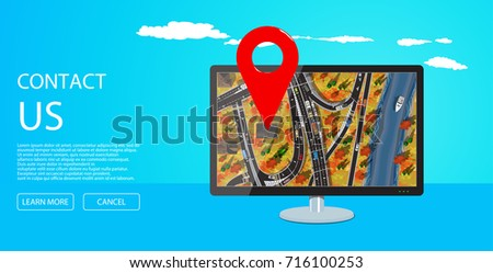computer display with city map