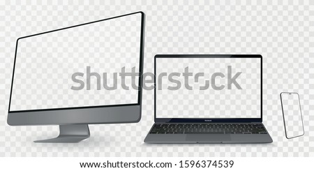 Computer display with two angles. Monitor, laptop, smartphone, realistic vector set on a transparent background Photo stock ©