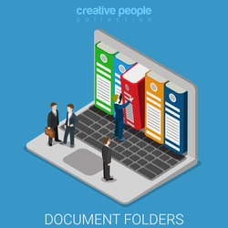 Computer document archive folders flat 3d isometry isometric technology concept web vector illustration. Micro businessmen taking big folder from laptop screen. Creative people collection.
