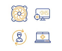 Computer fan, Human resources and Seo icons simple set. Medical help sign. Pc ventilator, Update profile, Search engine. Medicine laptop. Business set. Linear computer fan icon. Colorful design set