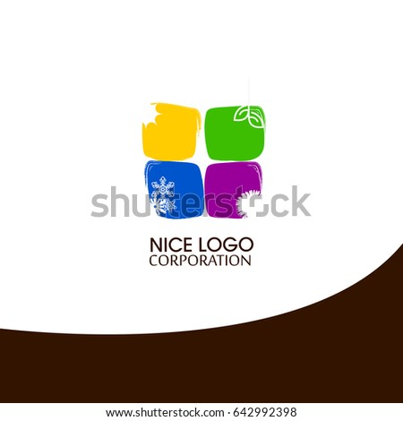 Computer folder logo template, abstract elegant glossy business icon. logo on all seasons. Weather conditions.