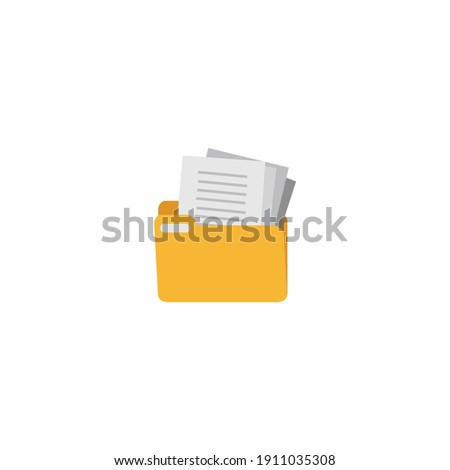 Computer Folder vector. Yellow Document Folder vector illustration. File folder icon, sign, linear style pictogram isolated on white background. Archive file folder icon Flat illustration