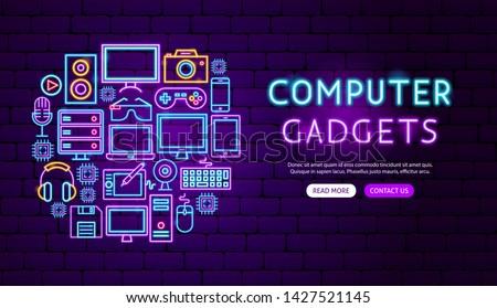computer gadgets neon banner