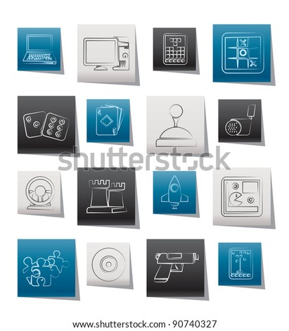 Computer Games tools and Icons - vector icon set