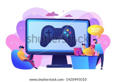 Computer gaming industry, cybersport training. Esports coaching, lessons with pro gamers, esports coaching platform, play like a pro concept. Bright vibrant violet vector isolated illustration