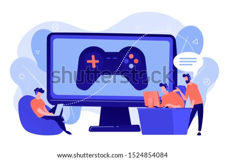 Computer gaming industry, cybersport training. Esports coaching, lessons with pro gamers, esports coaching platform, play like a pro concept. Pinkish coral bluevector isolated illustration