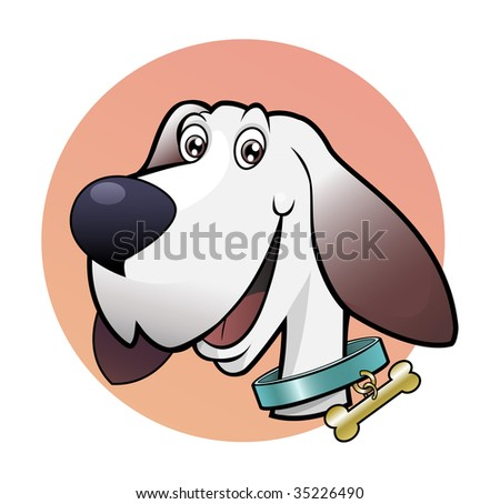 Computer generated illustration: happy cute dog. Cartoon style