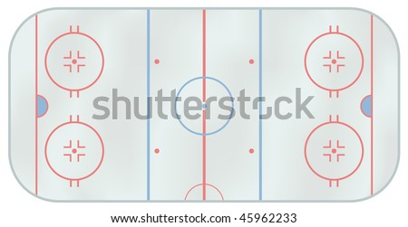 Computer generated illustration of an ice hockey rink. Above view