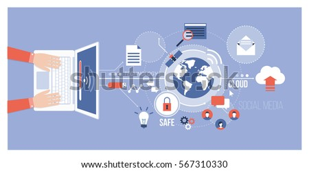 Computer, global networks and social media concept: user connecting to the internet using a laptop and exchanging data online