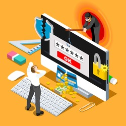 Computer Hacker cyber Phishing virus infographic 3D isometric people concept Hacker spam Phishing online threat computer systems Malware cyber attack fraud threat computer wannacry Person vector image