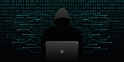 computer hacker cybercrime with blue binary code web background vector illustration EPS10