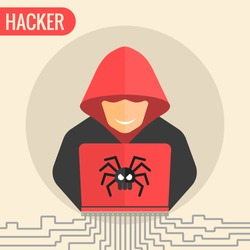 Computer hacker spread a net - isolated vector illustration.