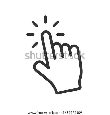 Computer hand cursor click, Hand pointer clicking effect, vector illustration