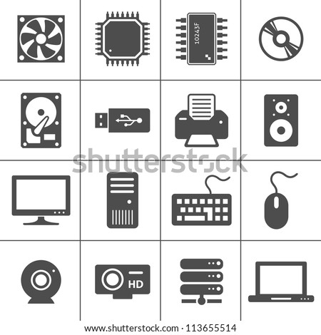 Computer Hardware Icons. PC Components. Simplus series. Each icon is a single object (compound path)