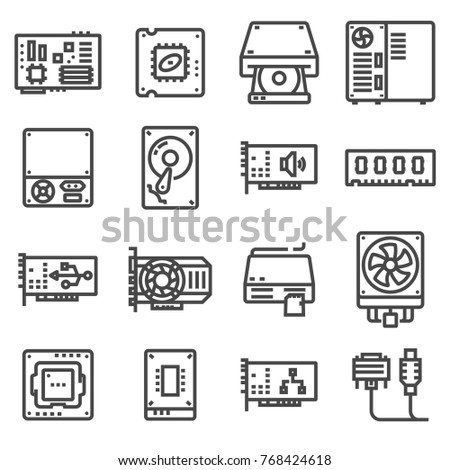 Computer Hardware Icons. PC Components. Vector illustration