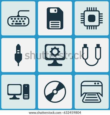 Computer Hardware Icons Set. Collection Of Computer Keypad, Cd-Rom, Portable Memory And Other Elements. Also Includes Symbols Such As Keypad, Setting, Computer.