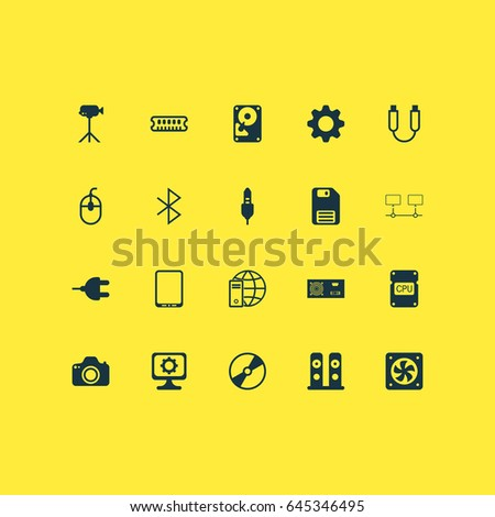 Computer Hardware Icons Set. Collection Of Computer Ventilation, Diskette, Wireless Connection And Other Elements. Also Includes Symbols Such As Video, Mechanism, Disk.