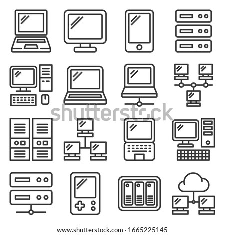 computer hardware icons set on