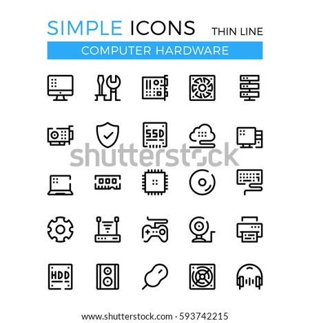 Computer hardware, PC parts and components vector thin line icons set. 32x32 px. Modern line graphic design for websites, web design, mobile app, infographics. Pixel perfect vector outline icons set.