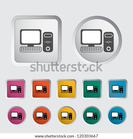 Computer icon, black silhouette. Vector illustration EPS 8.