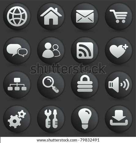 Computer Icon on Round Black and White Button Collection Original Illustration