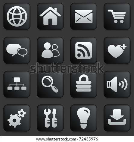 Computer Icon on Square Black and White Button Collection Original Illustration