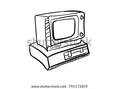 computer icon vector vintage doodle cartoon