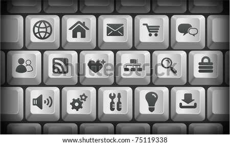 Computer Icons on Gray Computer Keyboard Buttons Original Illustration ...