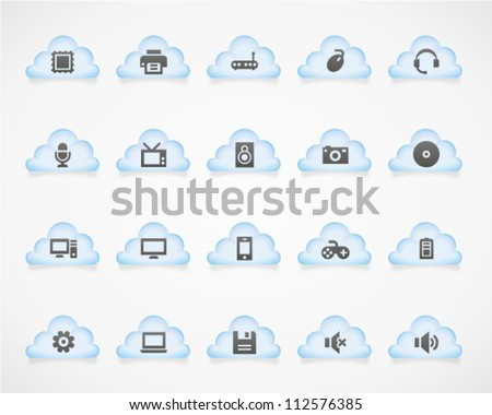 Computer icons on light clouds. Image contains transparency - you can put it on every surface. 10 EPS - stock vector