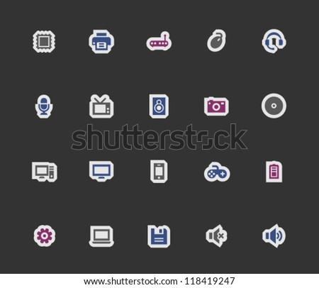 Computer icons on modern stickers