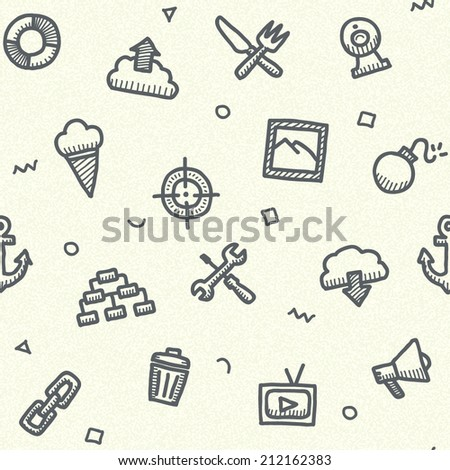 Computer icons vintage drawings seamless pattern isolated on white background