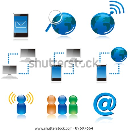 computer Internet connecting icons