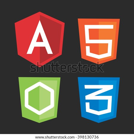 Computer js framework shields angular, node, css, html. Vector illustration for computer programming, code development