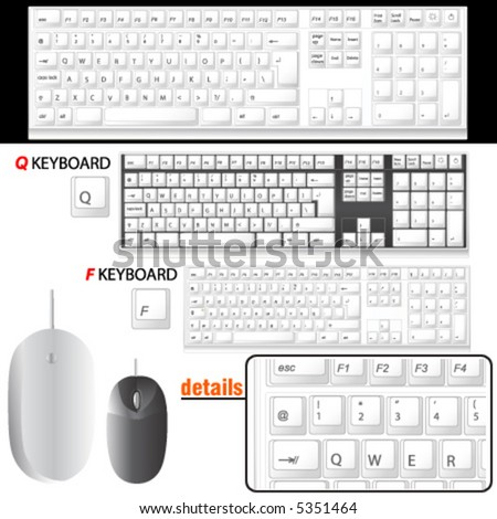 computer keyboard and mouse details vector (F and Q keyboard)