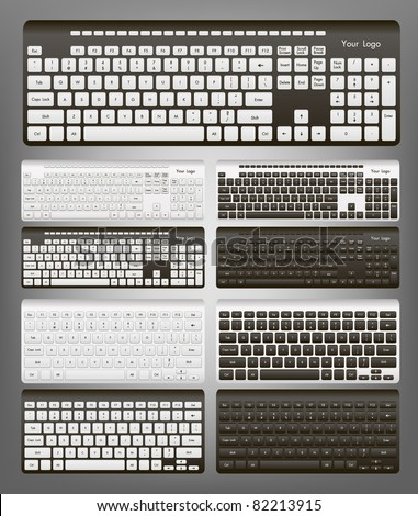 Computer keyboard in white and black color - stock vector