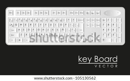 computer keyboard to white with black letters, vector illustration