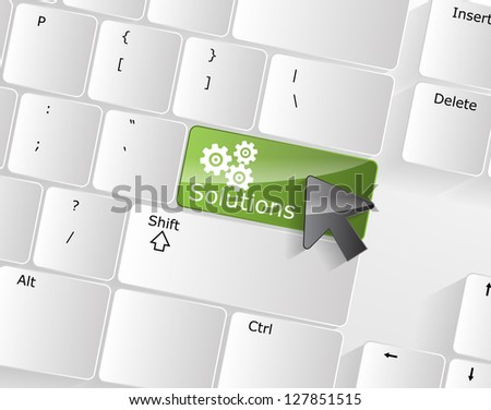 Computer Keyboard with solutions Key and a black arrow on it. - stock vector
