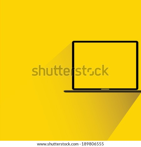 computer, labtop on yellow background, flat and shadow style